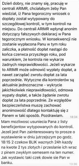 ARiMR ostrzega przed SMS